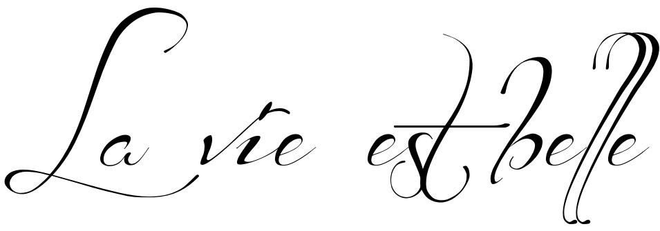 """La vie est belle"" - tattoo phrase, download free scetch"